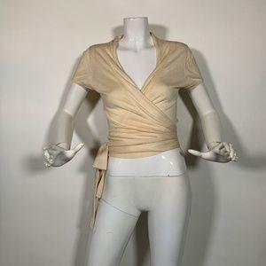 BCBG Maxazria Top Blouse Wrap Silk Cotton Sz M